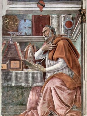 Der Heilige Augustinus, dargestellt auf einem Fresko in der Kirche von Ognissanti (Florenz) von Sandro Botticelli aus dem Jahr 1480.