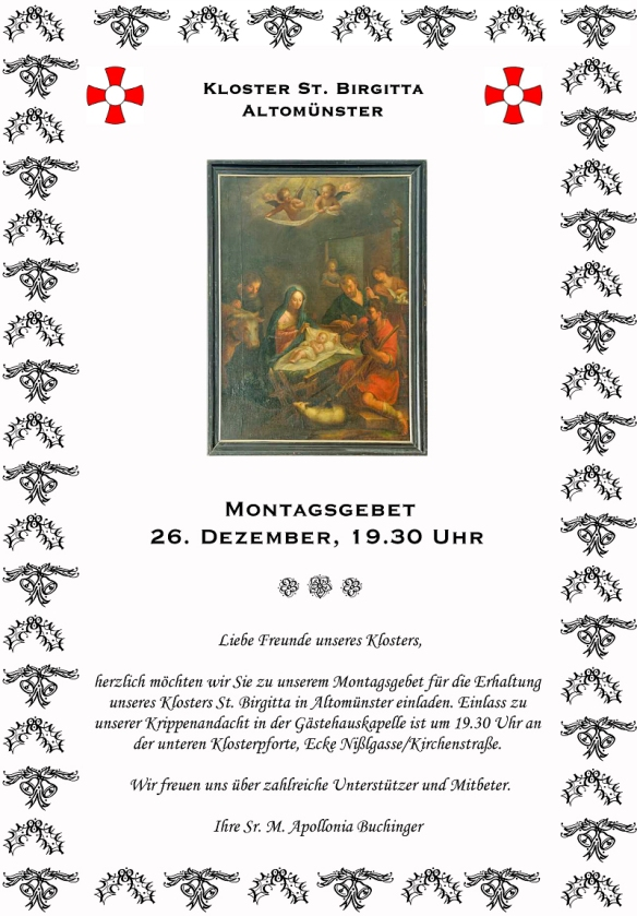 Einladung zum Montagsgebet am 26. Dezember