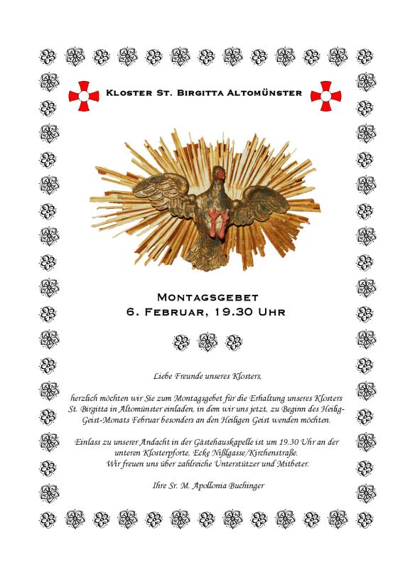Einladung zum Montagsgebet am 6. Februar